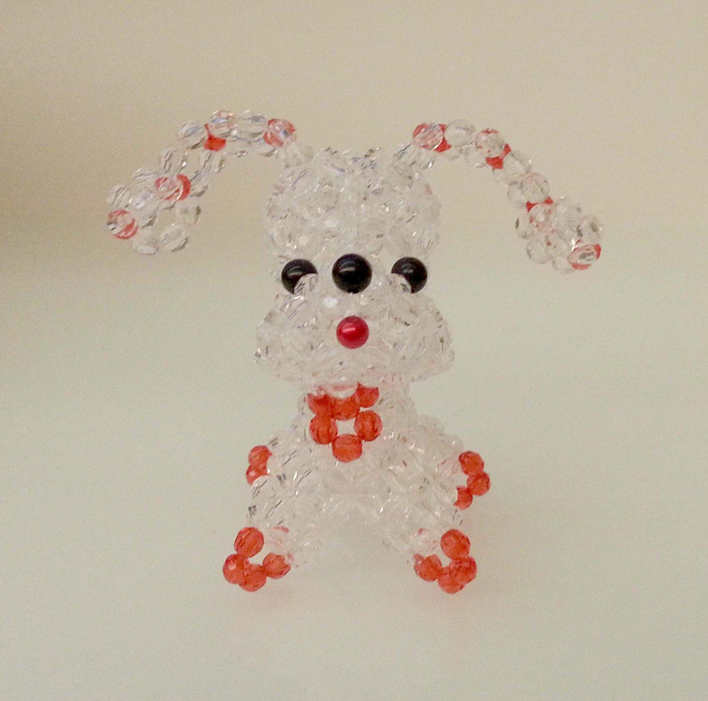 "Handmade Round Beads Transparent Long Ear Dog Figure 3.25"" H / 8 cm H"
