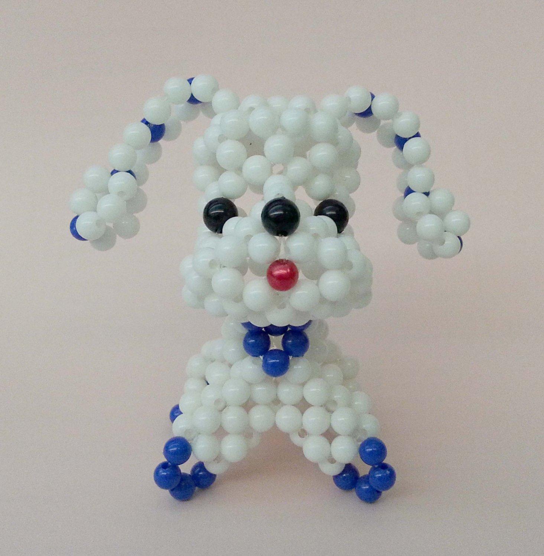 "Handmade Round Beads #1 WHITE Long Ear Dog Figure 3"" H / 7 cm H"