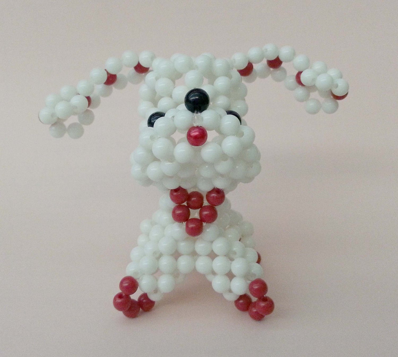 "Handmade Round Beads #2 WHITE Long Ear Dog Figure 3"" H / 7 cm H"