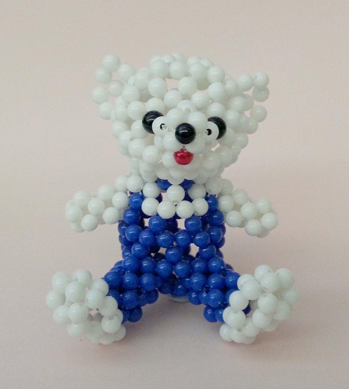 "Handmade WHITE Round Beads Boy Bear Figure w/ Blue Clothes 3"" H"