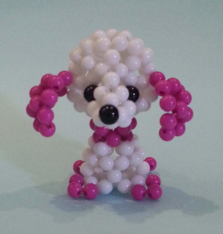 """Handmade Round Beads #5 White / Magenta Dog Figure 2"""" H / 5 cm H"""