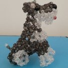 "Handmade Round Beads #6 Dark Grey Dog Figure 4"" H / 10 cm H"