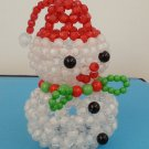 "Handmade Round Beads #2 White Christmas Snowman Red Hat Figure 4"" H / 10 cm H"