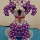 "Handmade Round Beads #7 PURPLE Dog Figure Mascot 5.5"" H / 14 cm H"