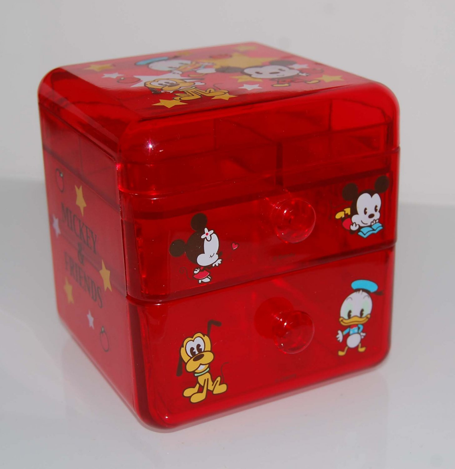 USED Disney Mickey Mouse Minnie Donald Duck Red Semi Transparent Drawer Box Container