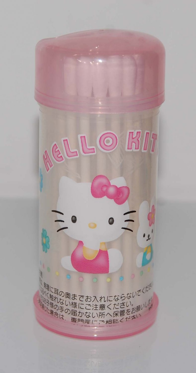 2000 Sanrio Hello Kitty Cotton Swab Stick 20 pcs Plastic Container Bottle