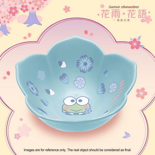 HK 7-11 Sanrio Blossom in the Flower Season Blue Ceramic Bowl Floral Collection Kero Kero Keroppi