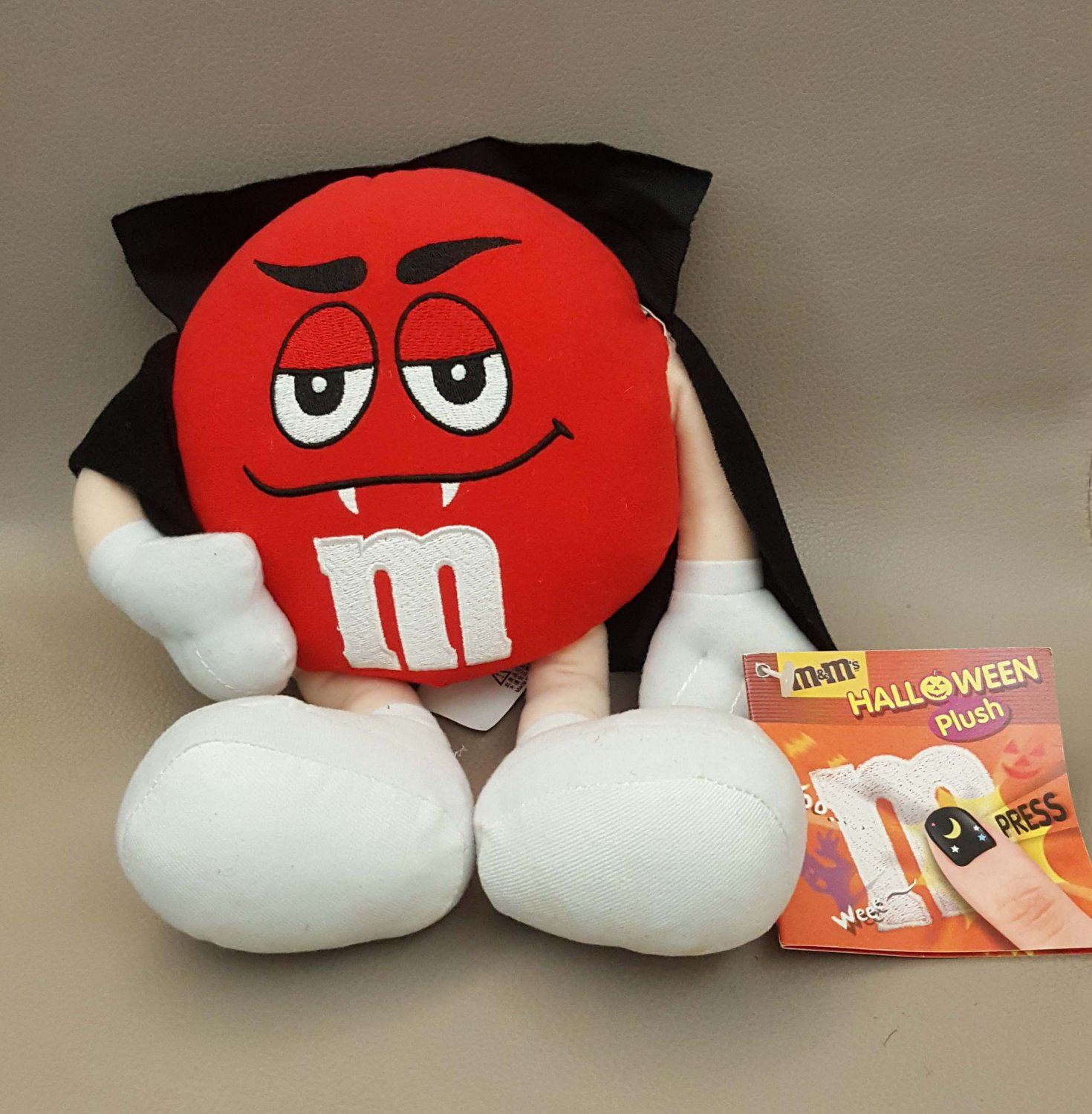 """M&M's RED Chocolate Halloween Plush Doll 9"""" H SOUND OUT OF FUNCTION"""