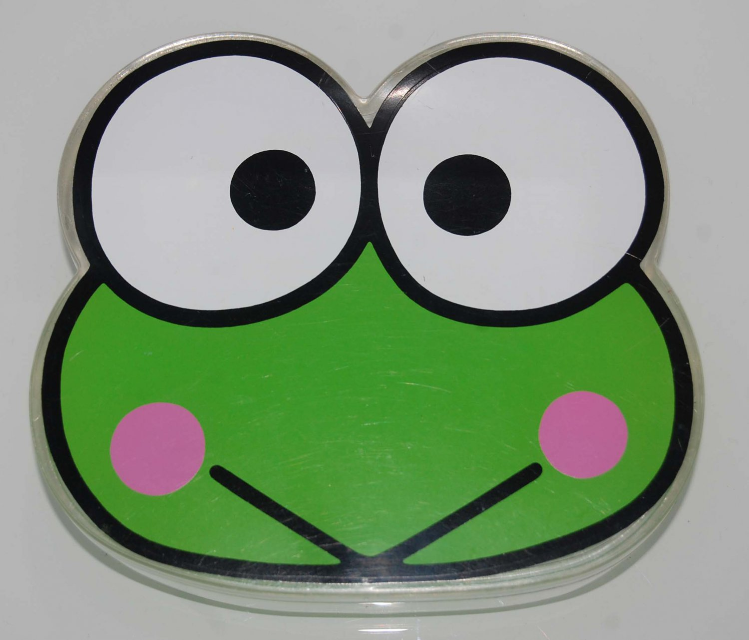 USED Sanrio KeroKero Keroppi Transparent Plastic Box Case Made in Japan W/ MARKS & SCRATCHES