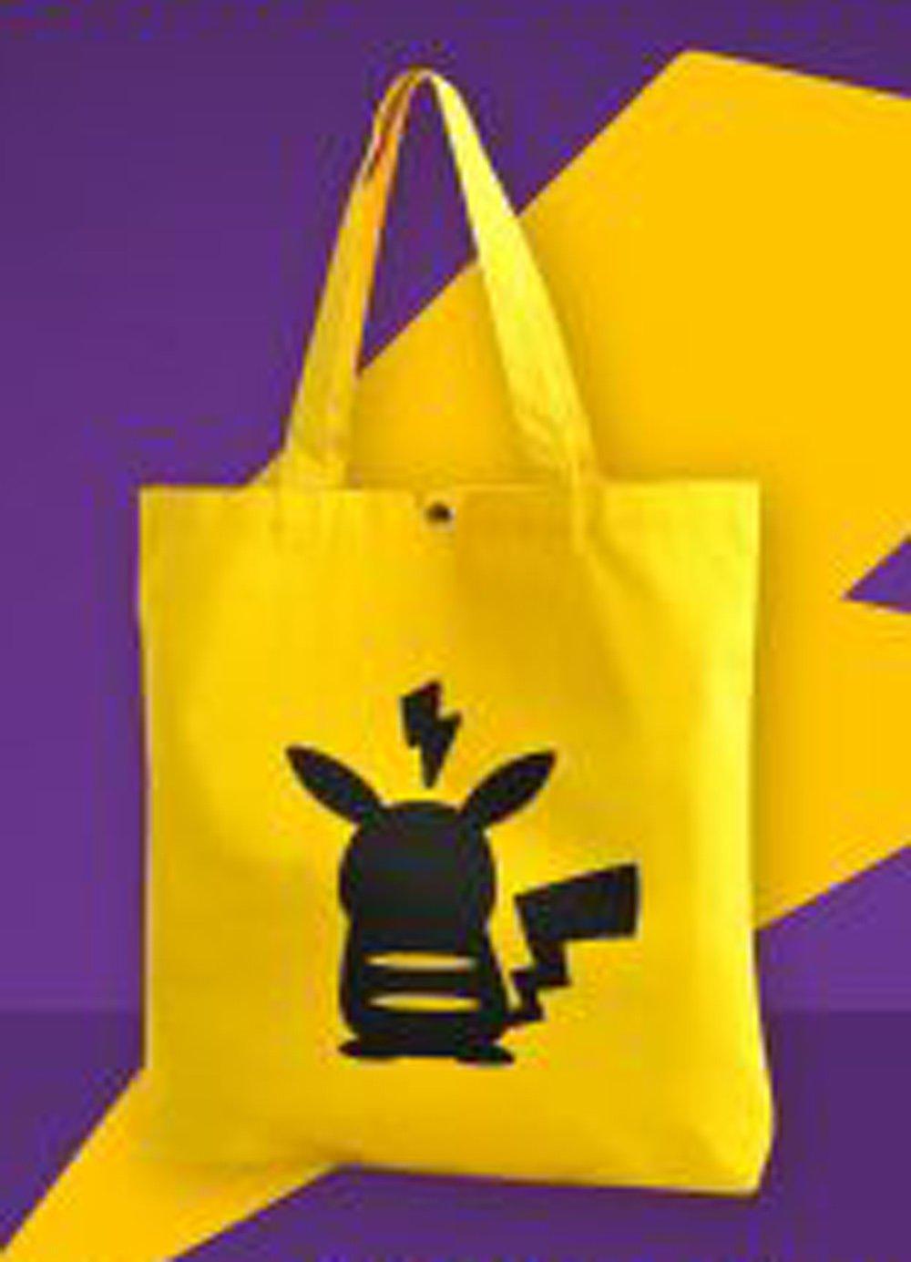 "Pokemon Pikachu Yellow Tote Bag 14.5"" x 15.5"" / 370 mm x 390 mm"