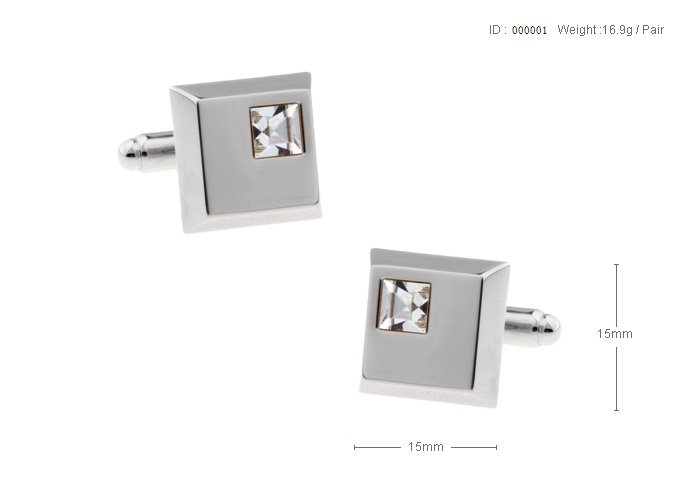 Free shipping to US The Square Small and Thick White Crystal Cufflinks for mens