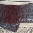 Crocheted Burgundy & Gray Ombré Straight Scarf