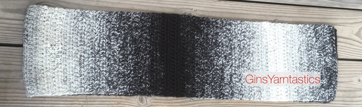 Crocheted Black & White Ombré Straight Scarf