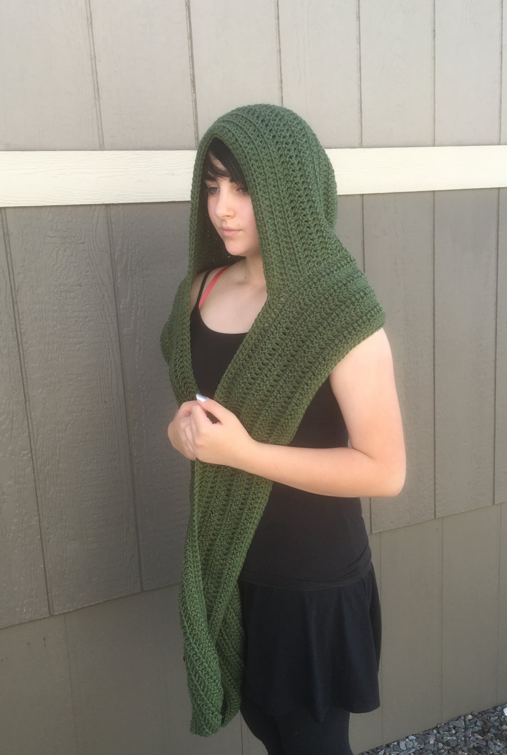 Thyme Green Scoodie - handmade - crochet