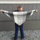 Knit Earth Tones Shawl - Tan, Dark Gray, Light Gray