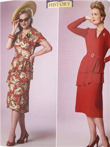 Butterick Sewing Pattern 6266 Ladies Misses Dress Size 14-22 1940's New