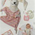 Burda Sewing Pattern 9635 Infant Baby Accessories Bibs Soft Toy Blanket New