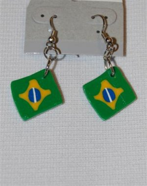 Handmade Polymer Clay Brazilian Flag Earrings - set 8