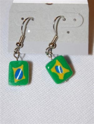 Handmade Polymer Clay Brazilian Flag Earrings - set 1