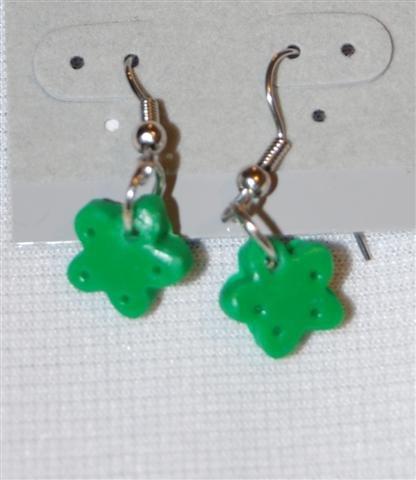Handmade Polymer Clay Green Earrings - set 4