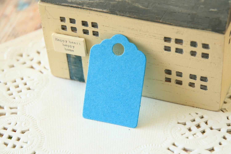 Aquamarine Blue mini scallop swing tags