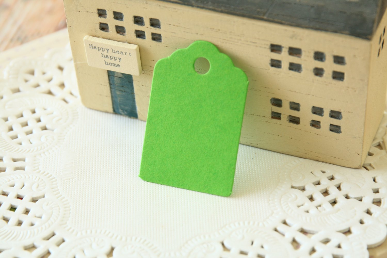 Lime Green mini scallop swing tags