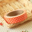 Apricot Orange Polka Dots adhesive deco fabric tape