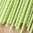 Lime Green Damask paper straws