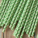 Kelly Green Damask paper straws