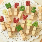 Colorful Alphabet Wood Pegs Letter Clips