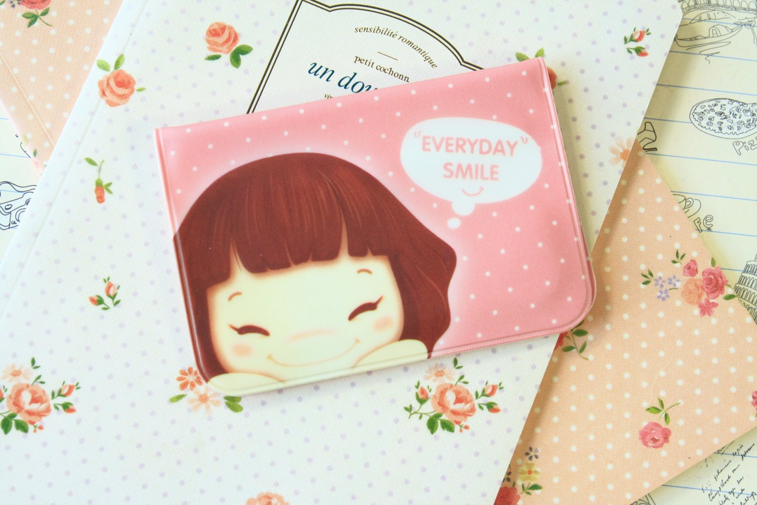 Pink Cookys Girl cartoon card holder