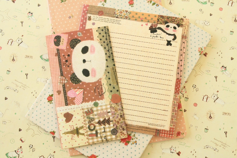 Patchwork Panda Bear Cute Animals & Friends cartoon writing paper and envelopes letter set