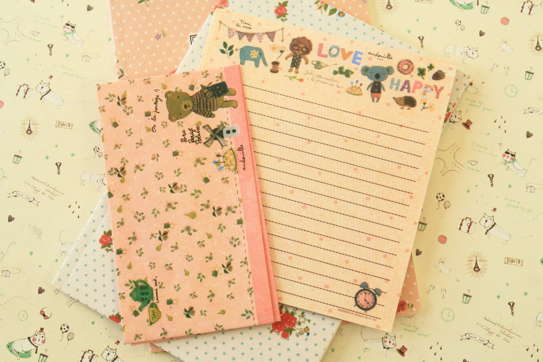 Garden Bears Cute Animals & Friends cartoon writing paper and envelopes letter set