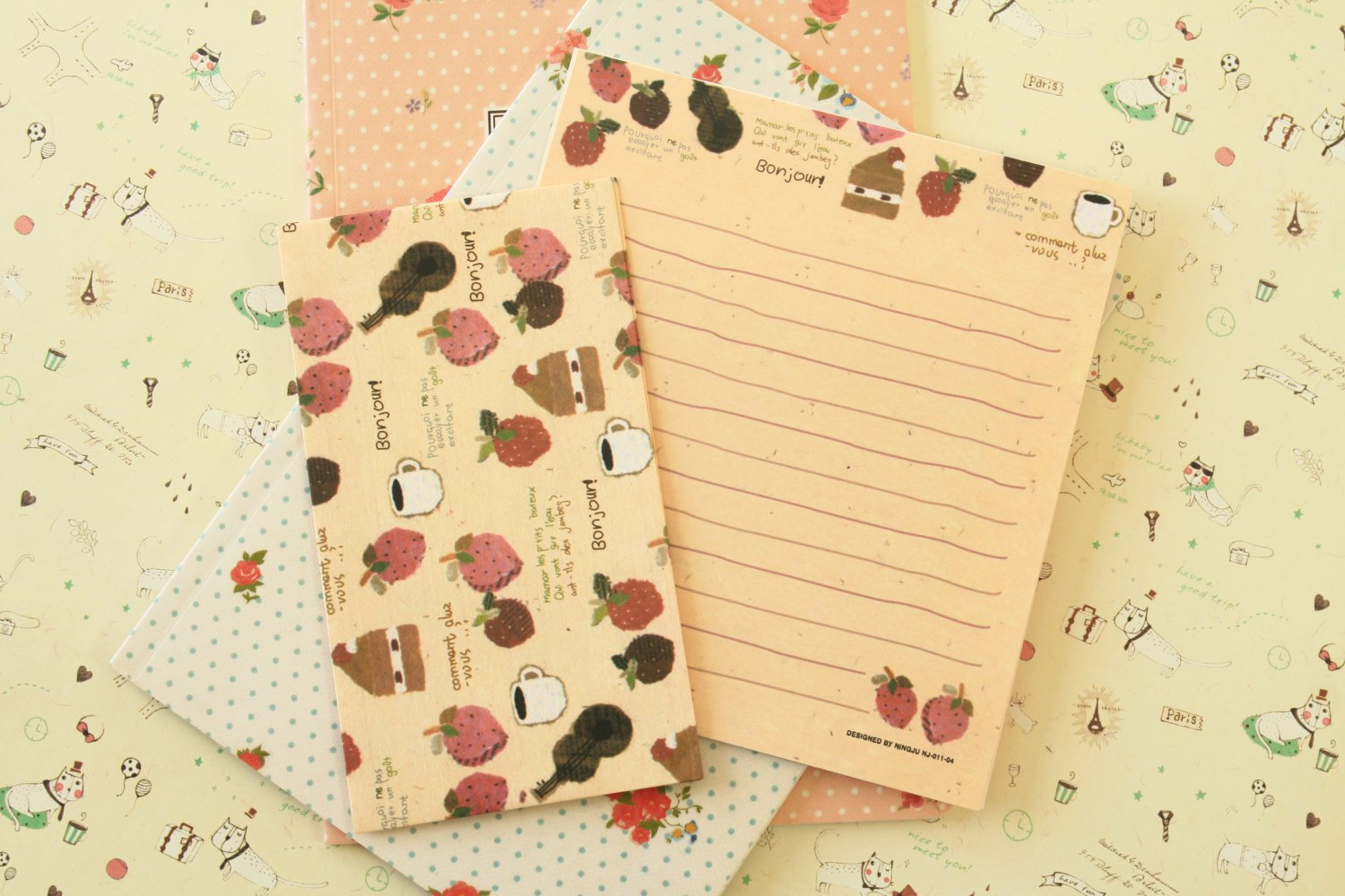 Bonjour Fruits Cute Animals & Friends cartoon writing paper and envelopes letter set