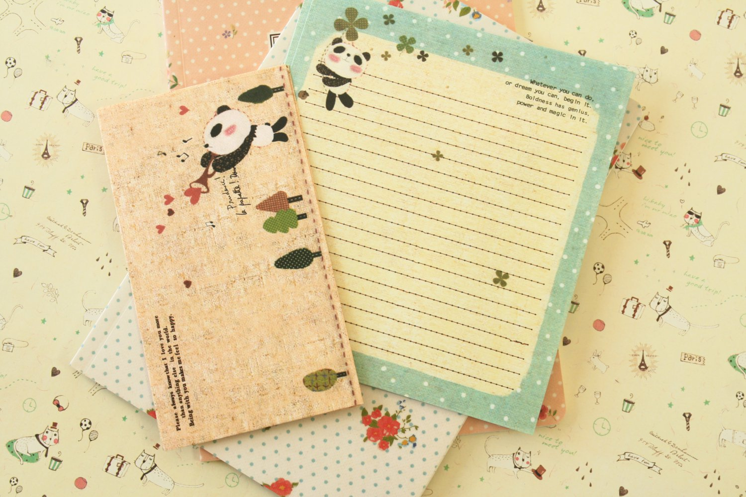 Forest Panda Cute Animals & Friends cartoon writing paper and envelopes letter set