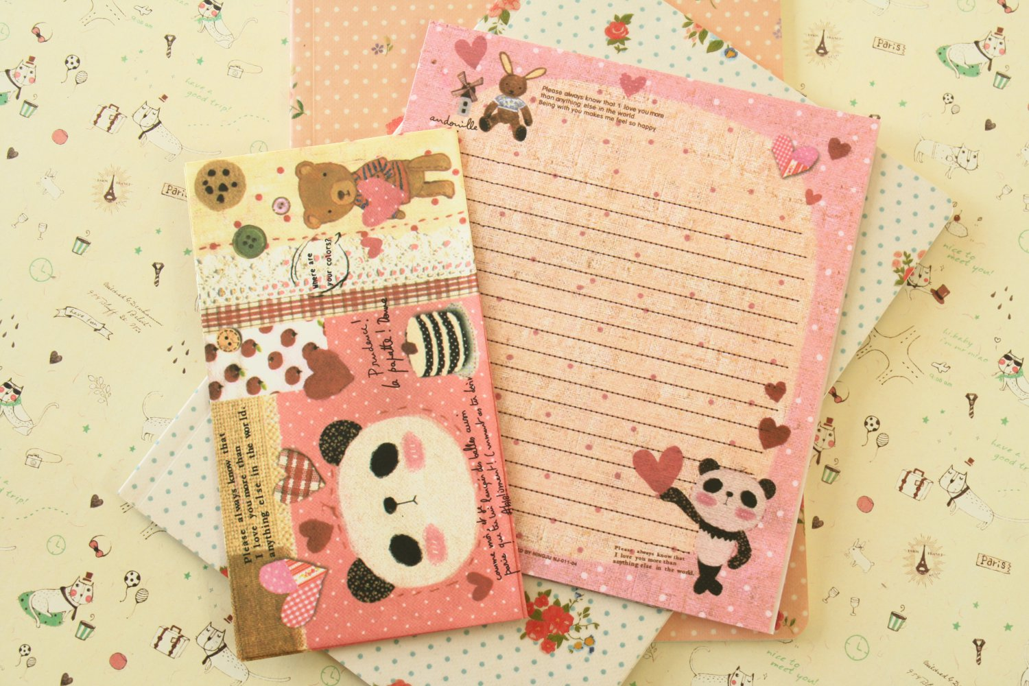 Sweet Panda Cute Animals & Friends cartoon writing paper and envelopes letter set