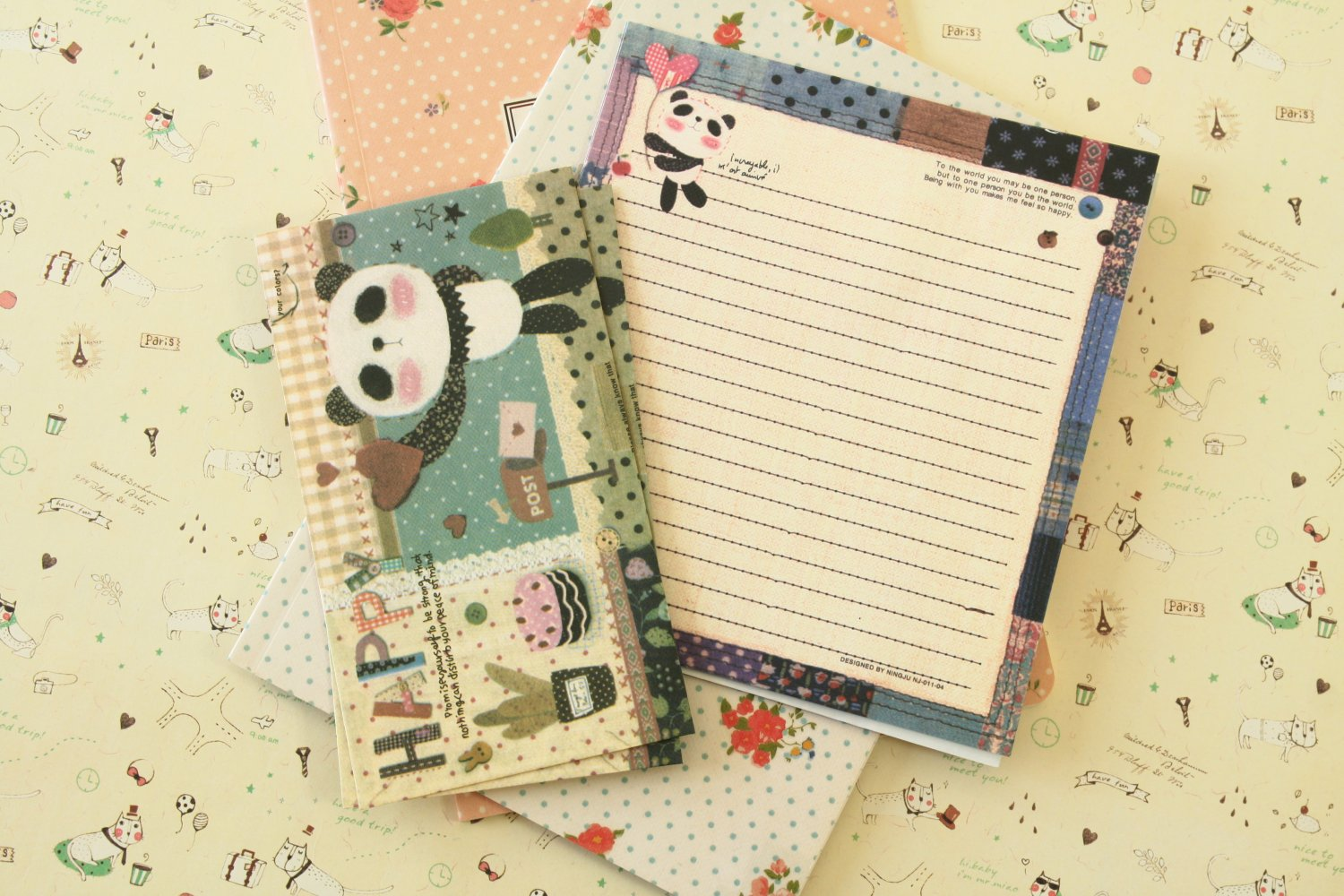 Happy Panda Cute Animals & Friends cartoon writing paper and envelopes letter set