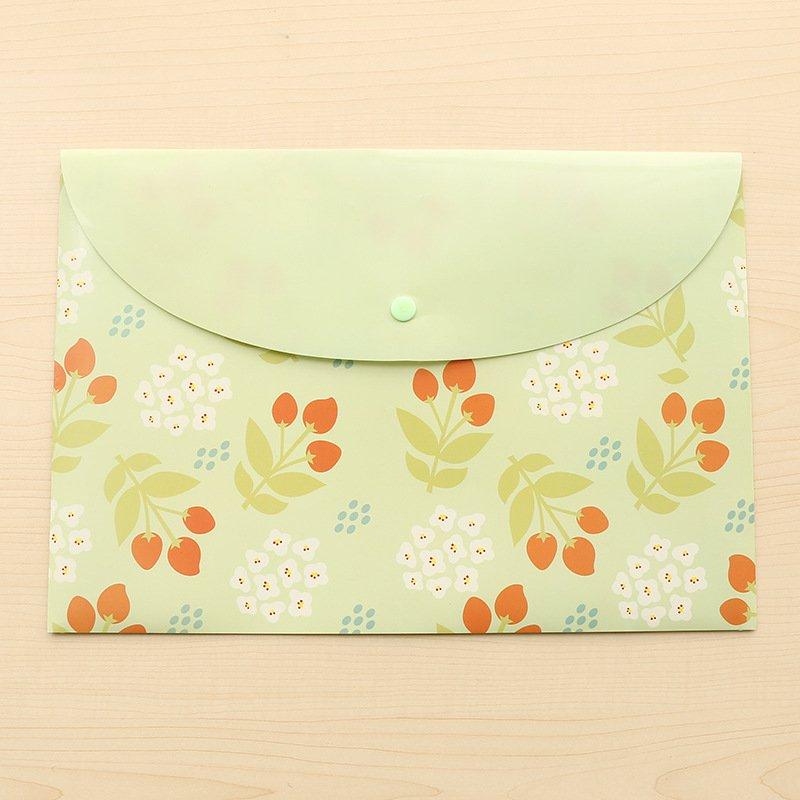 Green Sweet Flowers Envelope File Bag