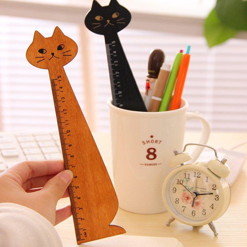 Brown Miranda Cat cartoon wooden Pocket Ruler