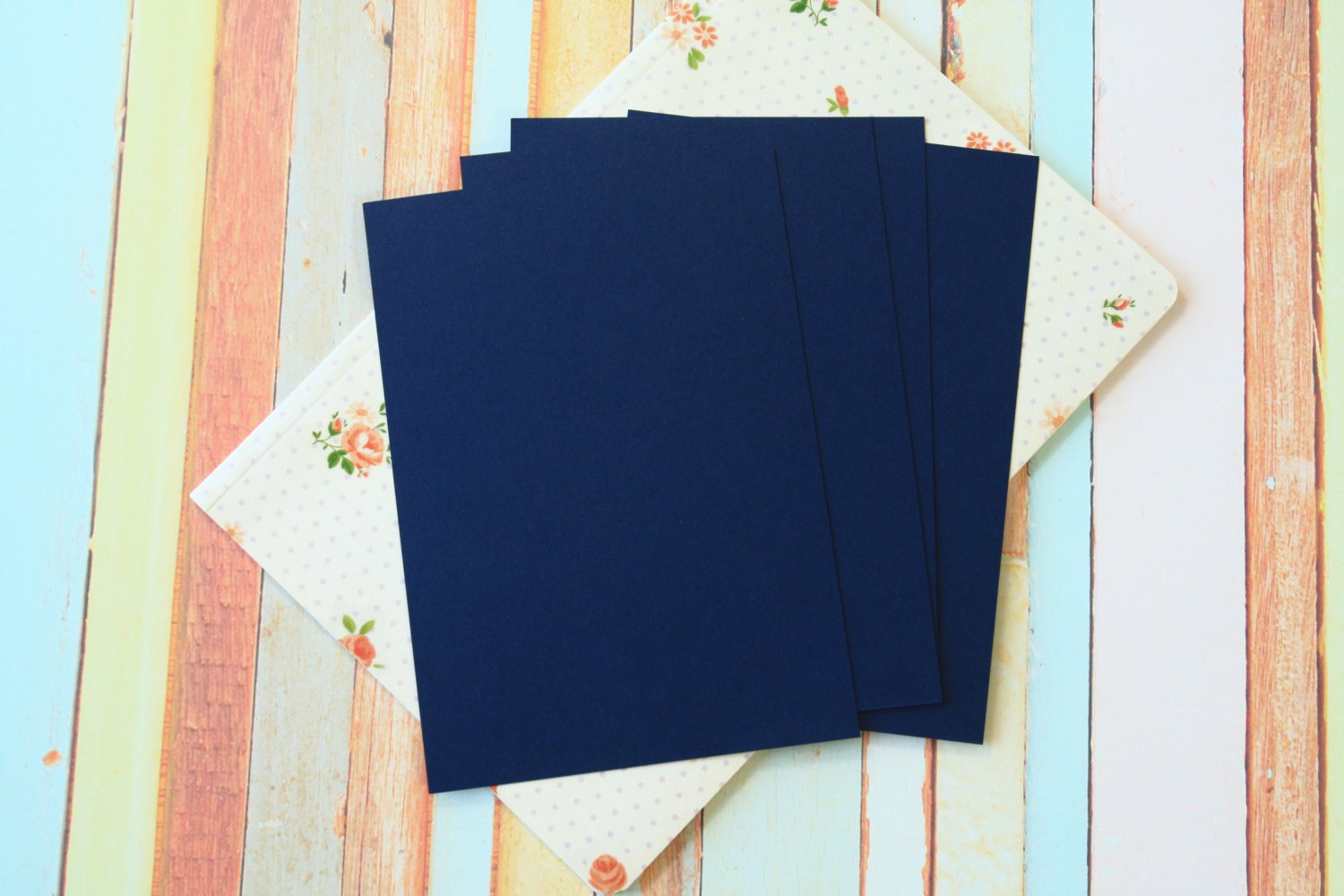 Blueberry Navy Craft Style blank postcards