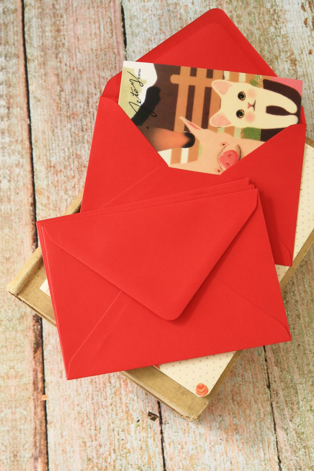 Scarlet Red plain C6 banker envelopes
