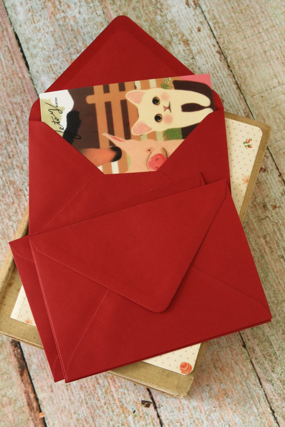 Burgundy Claret Red plain C6 banker envelopes