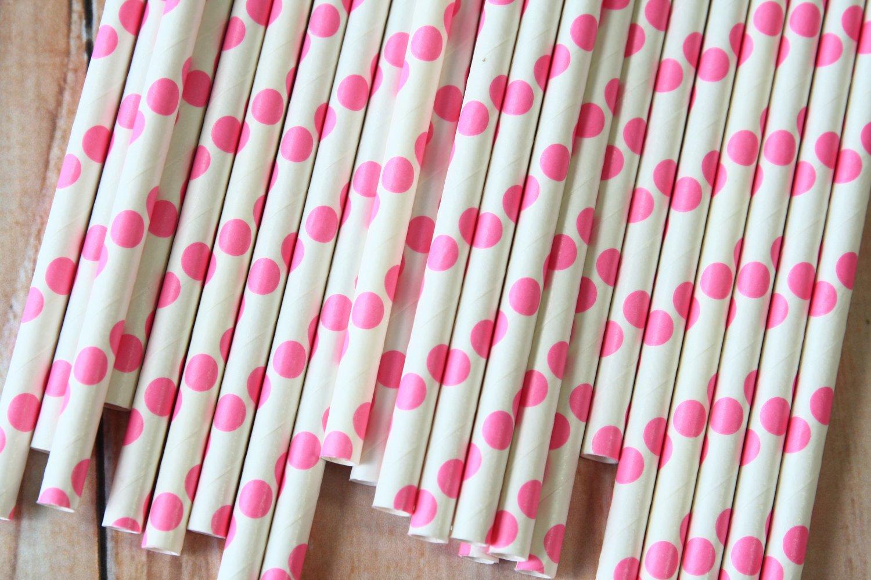 Hot Pink Big Dots paper straws