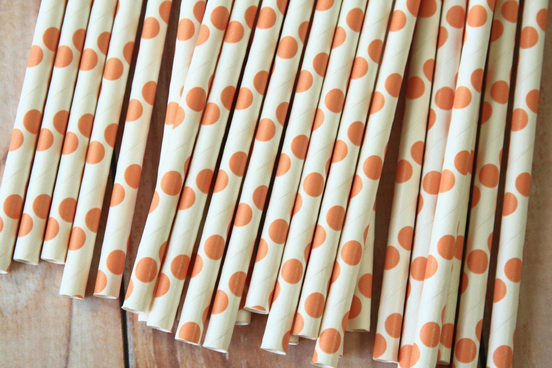 Peach Big Dots paper straws