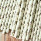 Grey Big Dots paper straws