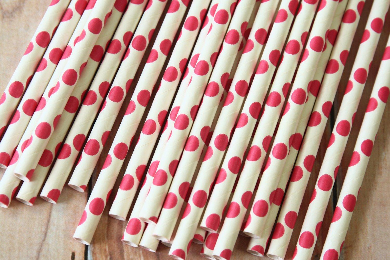 Garnet Pink Big Dots paper straws