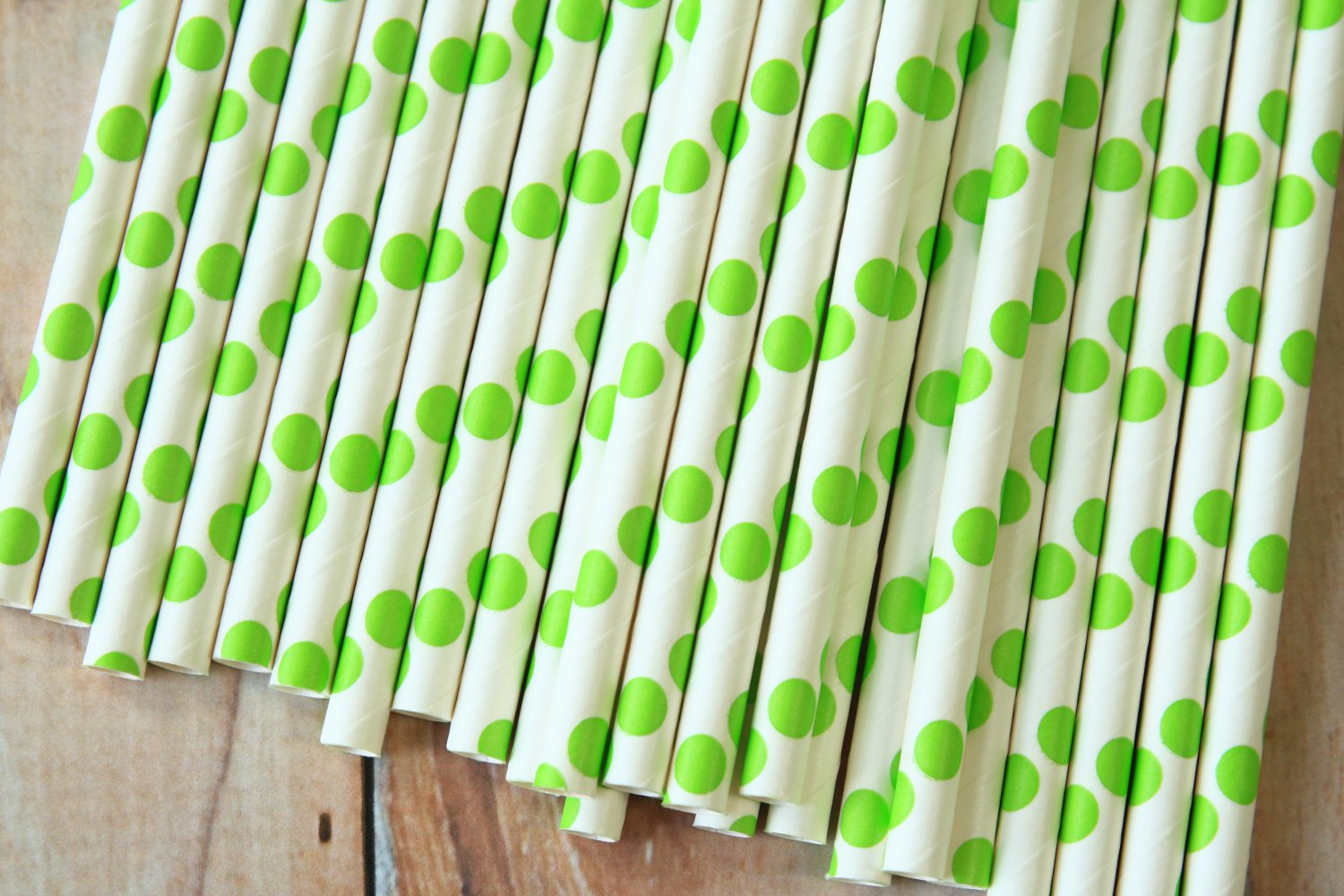 Lime Green Big Dots paper straws
