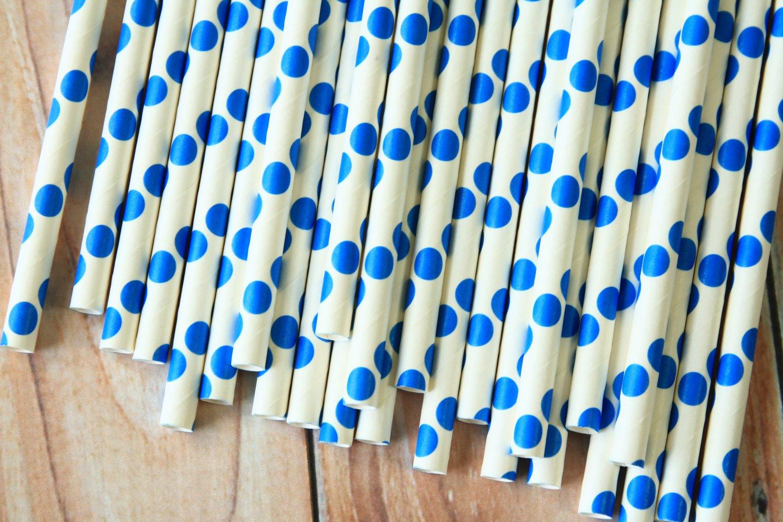 Blue Big Dots paper straws