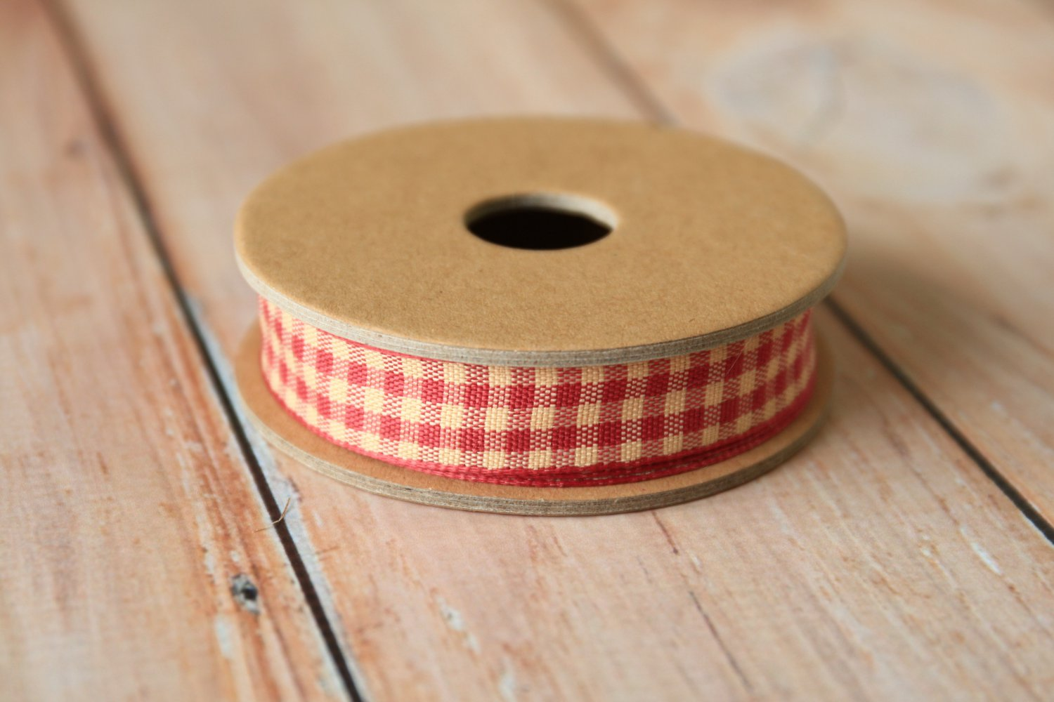East of India Red Gingham ribbon