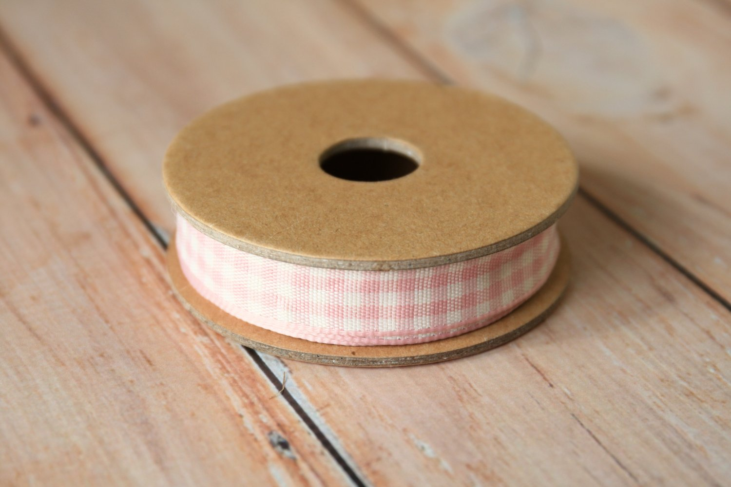 East of India Pink Gingham ribbon
